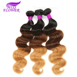Wholesale Extention Human Virgin Hair - 7A Unprocessed Omber Brazilian Virgin Hair Body Wave 4 Bundles #1B 4 27 Omber Brazilian Hair Weave Bundles Human Hair Extention