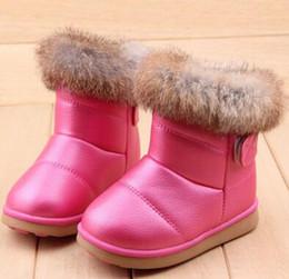sapatos de bebê sola Desconto Genuine couro criança antiderrapante feminino botas de neve criança botas masculinas médio-perna criança algodão-acolchoado sapatos de sola macia bebê