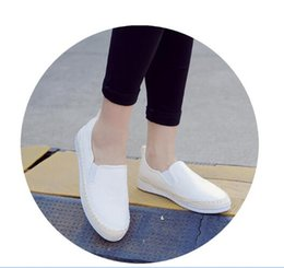 Wholesale Canvas Boat Sneakers - Wholesale-New Summer Style Women's Espadrilles PU leather Slip-On Boat Flat Shoes Weave Casual Canvas Sneakers Loafers Shoes Black Beige