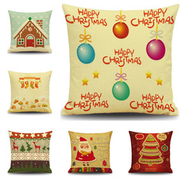 Wholesale Knitted Ball Covering - DHL Free XMAS Cushion Cover Cute Cartoon Christmas Ball Christmas Tree Pillow Case Christmas Decor Family XMAS Gift YC2427K 20