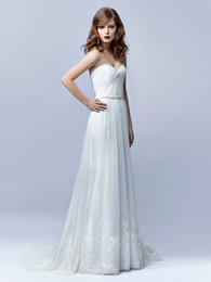 Wholesale Sweetheart Strapless Satin Wedding Dresses - Strapless A-Line Sweetheart Neckline Beading Ruched Tulle Enzoani Bt17-2 2016 Wedding Dresses Bridal Gowns Discount