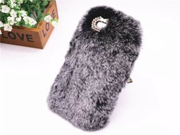 Wholesale Cover Grey Hair - Luxury Rabbit Fur Hair Hard Mobile Phone Case For iPhone 6 plus  6s plus Cute Hairy Bling Diamond Slim Back Cover Capa
