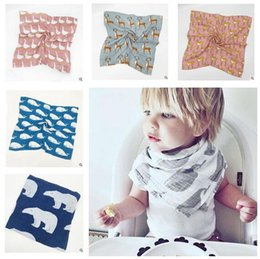 Wholesale Cotton Cloth Napkins Wholesale - Baby Bibs Swaddles Baby Cotton Muslin Saliva Towels Burps Cloths Bandana Napkin Baby Scarf Christmas Gifts DHL Free Shipping