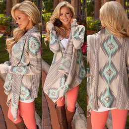 Wholesale Cotton Shrugs - 2017 Women Chevron Sweaters Fashion Autumn Chothing Winter Shrug Sweater Loose Sexy Cardigan Women Plus Size Fall Oversized Cardigan