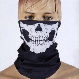 Wholesale Dotted Hat Scarf - Halloween Skull Skeleton Party Masks Black Motorcycle Multi Function Headwear Hat Scarf halloween mask Neck Scary Sport Freeshipping