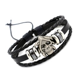 Wholesale Cool Gift Wrap - Fashion Multilayer Wrap Leather Infinity Bracelets Vintage Alloy Skulls Beaded Charm Bracelets Punk Style Wrist Jewelry For Men Women Cool