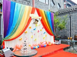 Wholesale Curtains Kid - 2016 hot sale Ice Silk cloth baby kids shower party decor birthday Backdrop Curtain Rainbow Wedding string Backdrop Curtain