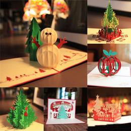 Nuevas tarjetas de felicitaciones de feliz Navidad hechas a mano Kirigami 3D Pop-up árbol de navidad tarjeta de muñecos de nieve al por mayor caliente desde fabricantes