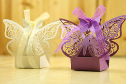 Wholesale Wholesale Party Favors Bags - Butterfly Candy Box Wedding Favors and Gifts Box for Wedding Decoration Supplies Party Favors Bag Event Party Supplies 100pcs lot