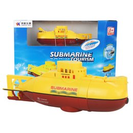Wholesale Diving Submarine - Wholesale- Mini Rc Submarine Diving Toy 6CH Underwater Motor 40mhz 27mhz Radio Blue Yellow Remote Control Submarine Toys for Children Gift