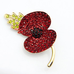 Wholesale Flower Memorial - Memorial Peace Pursuit Gold Tone Red Diamante Crystal Poppy Pins Brooch Pretty Poppy Flower Brooch UK Remebrance Day Gift DHL free shipping