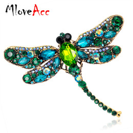 Wholesale Moon Scarf - Vintage Design Shinny 6 Colors Crystal Rhinestone Dragonfly Brooches for Women Dress Scarf Brooch Pins Jewelry Accessories Gift