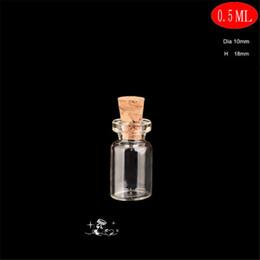 Wholesale Tiny Bottle Charm Cork - 500pcs lot 0.5ml 10*18mm Tiny Glass Charm Vial Jewelry Cork Mini Bottle DIY Craft Vials