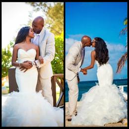 Wholesale Wedding Dress Crystal Beading Designs - Nigeria African 2016 Wedding Dresses Mermaid Sweetheart Beach Bridal Dress With Ruffles Skirt Robe De Mariee 2017 New Design