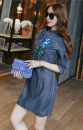 Wholesale Cheongsam Dress For Girls - 2016 Hot Women Plus Size Dresses Fashion European Mid-Sleeve Slim Show Thin Stylish Button Stand Collar Denim Cheongsam Dress For Big Girls