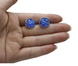 Wholesale Cheap Stone Earrings - 20pair lot cheap Nice handmade resin round druzy earrings trendy simple stainless plated wholesaling resin stone earring for lady