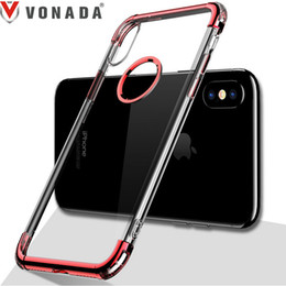 Wholesale Wholesale Chrome Plating - Plating Case for iPhone X Luxury Chrome Transparent Anti fall TPU Gel Mobile Phone Back Case Cover