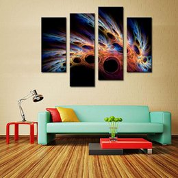Wholesale Fractal Art - 4 Picture Combination Fractal Abstract Pink Blue Cave Wall Art Painting The Picture On Canvas Abstract Pictures For Home Decor