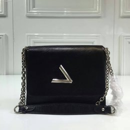 Wholesale Denim Crossbody Bag - New Guaranteed Genuine Leather Twist Denim Medium Crossbody Bag Women Single Shoulder Chain bag Free Shipping 335
