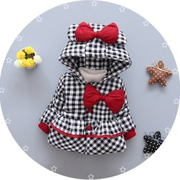 Wholesale Oxford Pads - Everweekend Kids Girls Sweet Cotton-Padded Clothes Coats Plaid Bow Baby Girls Coats Outwears with Hoodie Overcoats