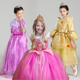 Wholesale Sleep Wear Girls - Christmas Gift Fairy Princess Sleeping Beauty Aurora Ball Gown For Girls Halloween Cosplay Costume Kids Party Wear Tulle Dress