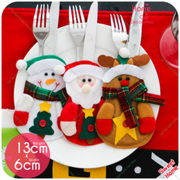 Wholesale Table Cutlery - 12Pcs  Lot Christmas Decoration Snowman Elk For Home Party Tableware Holder Pocket Cutlery Set Xmas Gifts Table Decoration Sale