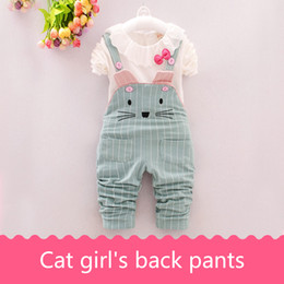 Wholesale T Back Shirts For Girls - Girl's back trousers suit for autumn wear T-shirt pants two pieces