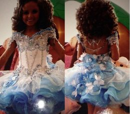 Wholesale Cupcake Pageant Dresses Gold - 2016 Glitz Strapless A Line Cupcake Organza Girls Pageant Dresses Sparkle Beading Formal Girls Party Prom Gowns with Handmade Flower