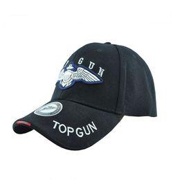 Wholesale Peak Shipping - Top Gun Fashion Sport Baseball Peaked Caps Hat Outdoor Travel Sun Bike Hat black tan free shipping