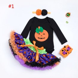 Wholesale Legging Skirt Sets - New Girls Baby Clothing boutique halloween outfit pumpkin 4pcs sets Romper+Tutu Skirts +Shoes Leg Warmers +floral headband Dress Suits A1034