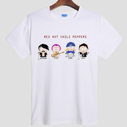 Wholesale Red Hot Chili Peppers - Wholesale- RHCP Red hot Chili Peppers Anthony Kiedis DIY men's short sleeve T-shirt cotton Round collar 008 gray white S-XXXL