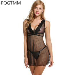 Wholesale Sex Sleeping Dress - Cotton Nightgown Sexy Lingerie Dress Women Lace Mini Underwear V Neck Sleeveless Sex Clothes Sleep Wear Lady Intimate Negligee Y