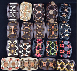 Wholesale Magic Hair Clips Styles - Best Mixed Lots Different Styles Wholesale Wood wooden Beads Double Magic Fashion Women Hair Clip  Comb