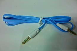 nouilles fil plat Promotion Nylon plat coloré 3.5mm Aux Câble Auxiliaire Jack Câble Mâle à Mâle Fiche Fil Stéréo Cordon pour iphone 2016