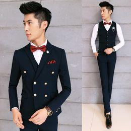 Wholesale Vintage Mens Vest Pinstripe - Heren Kleding Black Vintage Mens Prom Suit Wedding Dress Slim Fit Home Coming Blazers Groom Formal Business(Jacket+Pants+Vest) Free Shipping