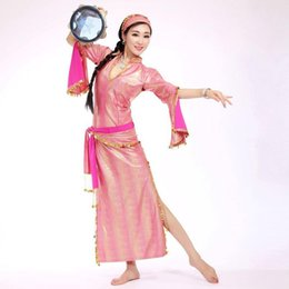 Wholesale One Sleeve Sequin - 6 Colors Sequins Women Belly Dance Dress Set One-piece, Waist Band Tie Belt and Headpiece Long Sleeves Costume Set 3pcs