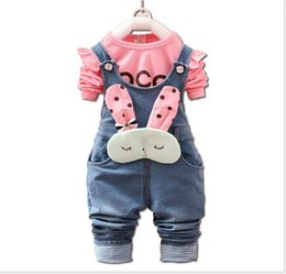 Wholesale Girls Shirts Suspenders - 2016 Spring Autumn Baby Girl Cartoon Rabbit Cowboy Suspender Pants + Cotton Long Sleeve T-shirt 2pcs Sets Kids Suit Girls Polka Dots Outfits