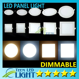 Wholesale Dimmable Led Ceiling Down Lights - Dimmable Led Panel Light SMD 2835 3W 9W 12W 15W 18W 21W 25W 110-240V Led Ceiling Recessed down lamp SMD2835 downlight + driver