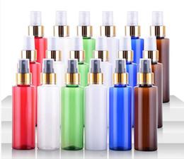 Kosmetikspray verpackung online-100 ml Leere Kunststoff Helle Gold Feine Nebel Sprühflasche (mit Tangente) Kosmetik-Verpackung Flasche Nachfüllbar Portable Travel