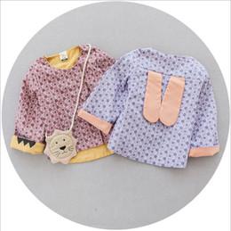 Wholesale Girls Autum - Toddler Girls Outwear Kids Clothing 2016 Autum Cute Rabbit Ear Coat Korean Fashion Print Floral Coat ER-092