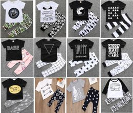 Wholesale Mixed Tutu - 4 sets lot(can mix styles)INS Baby boy Girl Clothing suits Children Clothing Set Newborn Baby Clothes Cotton Baby sets 112 styles for choose