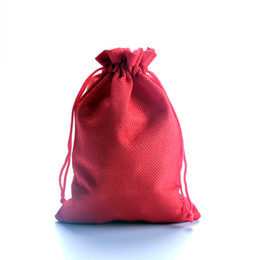 Wholesale Jewerly Storage - New Fashion Jute Fabric Drawstring Jewelry Bags Wholesale 100pcs lot 7x9cm Small Red Jewerly Gift Packaging Storage Pouches Cheap Bag