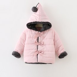 Wholesale Cute Baby Coats For Girls - Baby Girls 3 Bow Fur Trim Wadding Coats Kids Winter 2016 Clothing for Boutique Little Girls Hoodie Warm Coats