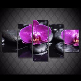 2019 óleo, pinturas, lona, orquídeas 5 Pçs / set HD Impresso Orquídeas roxo Pintura Cópia Da Lona room decor impressão imagem do cartaz da lona fotos de pinturas a óleo óleo, pinturas, lona, orquídeas barato