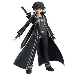 Wholesale Sword Art Online Sao - 14cm Face Changed Kirigaya Kazuto Figures Anime Sword Art Online PVC Doll SAO Toy In Box Figma W09