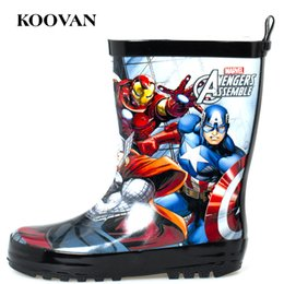Wholesale Rain Boots Kids Cartoon Boots Koovan New Autumn Winter Men Shoes Super Hero High Quality Free Ship Big Size K