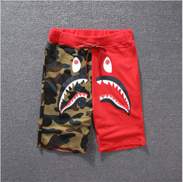 Wholesale print pants men - 2016 New Summer Men's Shark Shorts Cotton Camo Causal Shorts Men Casual Camouflage Skateboard Short Pants Loose Streetwear
