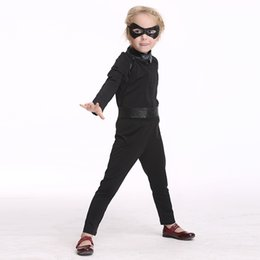 Wholesale Holloween Masks - Kids nocturnal man cosplay clothes 4pc sets eye mask+long sleeve top+pu waistbelt+pants boys girls black knight-errant clothes holloween