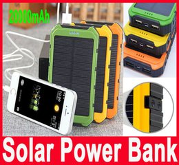 Wholesale Wholesale Solar Power Battery Charger - 20000mAh Solar Power Bank Charger Waterproof Solar Phone External Battery Dual USB Power Bank for Iphone Power Charger with retail package