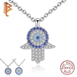 Wholesale Evil Eye Pendants - BELAWANG New Item 3 Styles 925 Sterling Silver Evil Eye Pendant Necklace with Hamas Hand Clear Crystal Necklace for Women Christmas Day Gift